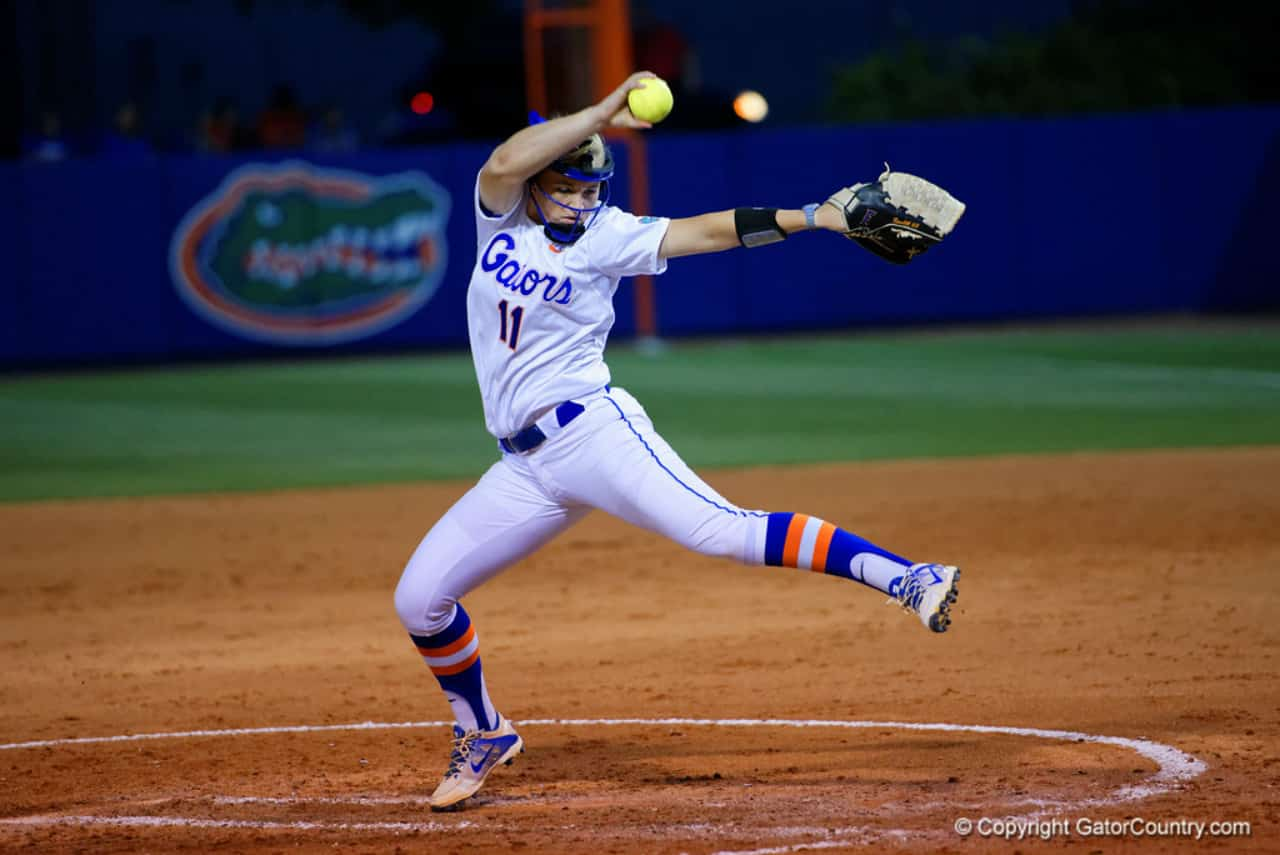 Florida Gators softball pitcher Kelly Barnhill pitches for UF- 1280x855