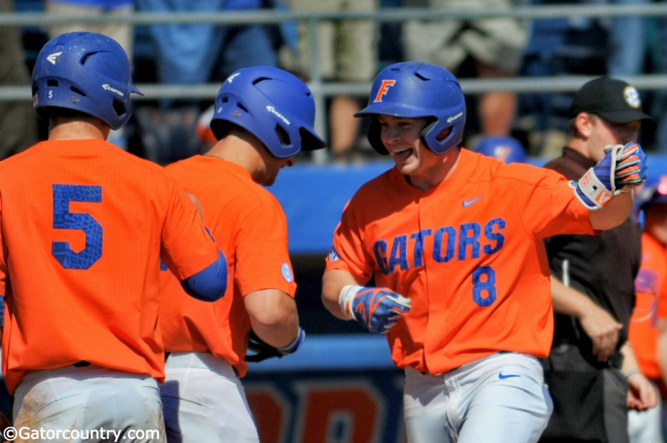 University of Florida infielder Deacon Liput celebrates after a three-run home run against William & Mary- Florida Gators baseball 1280x850