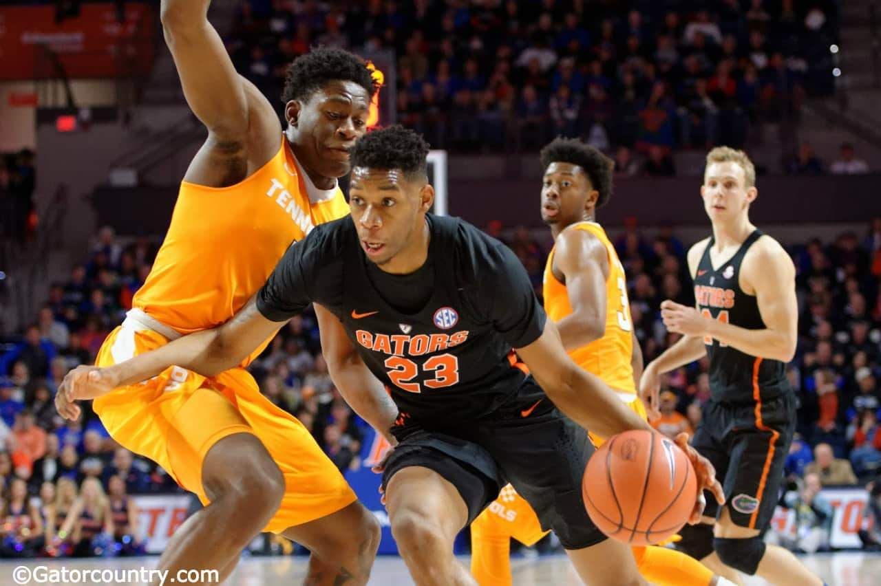 University of Florida forward Justin Leon drives to the basket against Tennessee- Florida Gators basketball- 1280x852