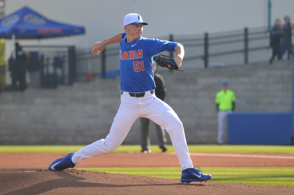University of Florida sophomore Brady Singer pitches against William & Mary- Florida Gators baseball- 1280x850