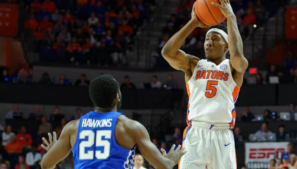 University of Florida sophomore guard KeVaughn Allen shoots a three against Kentucky- Florida Gators basketball- 1280x852