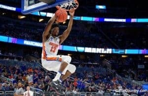 Florida Gators baskeball player Kevarious Hayes dunks against ETSU- 1280x853