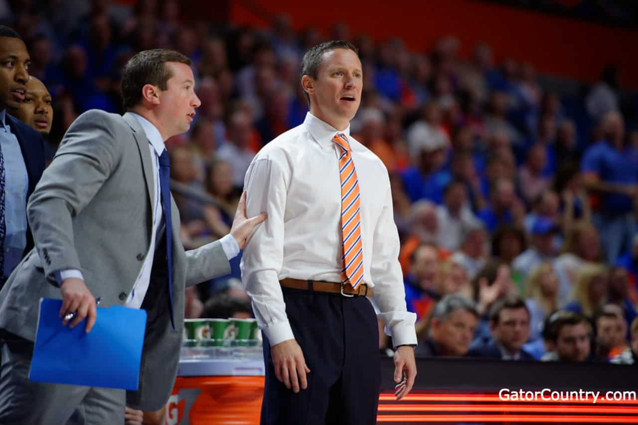 Florida Gators basketball coach Mike White coaches the Gators in 2017- 1280x853