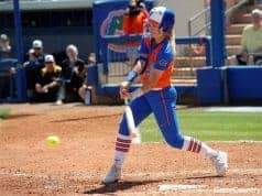 Florida Gators softball infielder Nicole DeWitt hits in 2017- 1280x853
