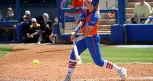Florida Gators softball infielder Nicole DeWitt hits in 2017- 1280x853