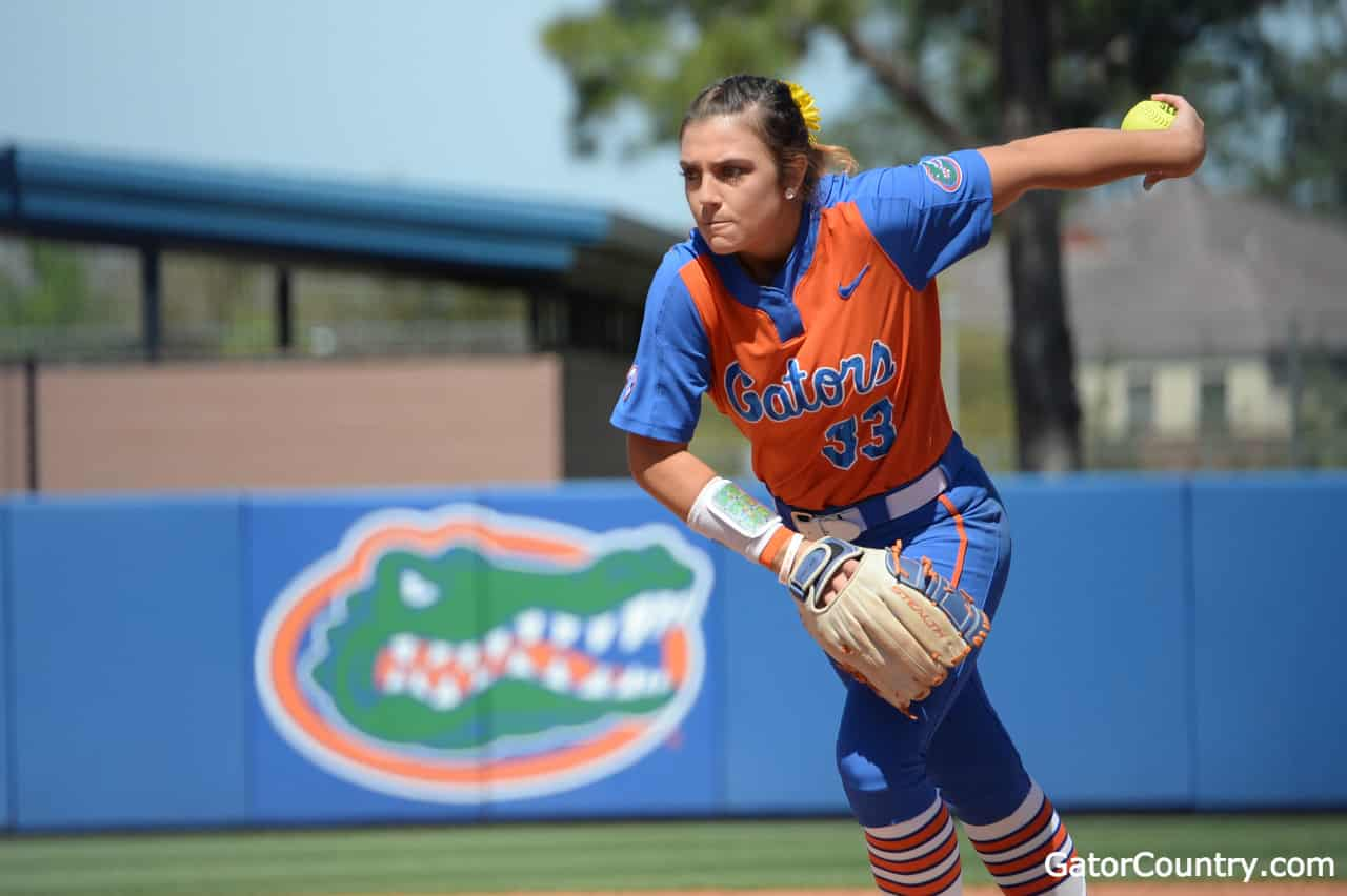 Florida Gators softball pitcher Delanie Gourley pitches against Missouri- 1280x852