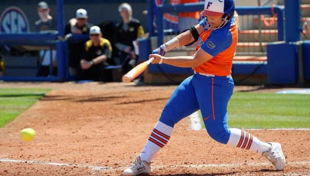 Florida Gators softball player Amanda Lorenz hits against Missouri- 1280x853