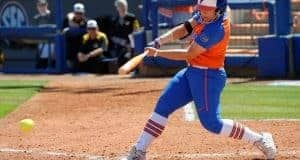 Florida Gators softball player Amanda Lorenz hits against Missouri- 1280x853