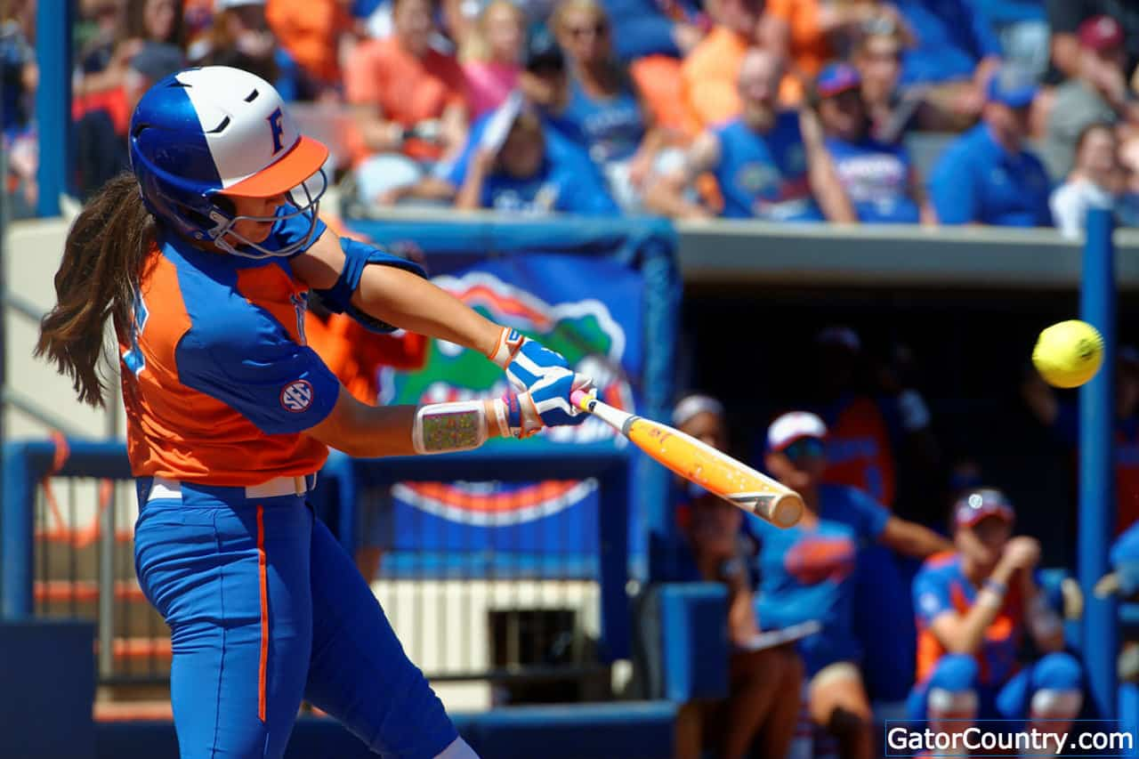Florida Gators softball player Janell Wheaton hits against Missouri - 1280x853