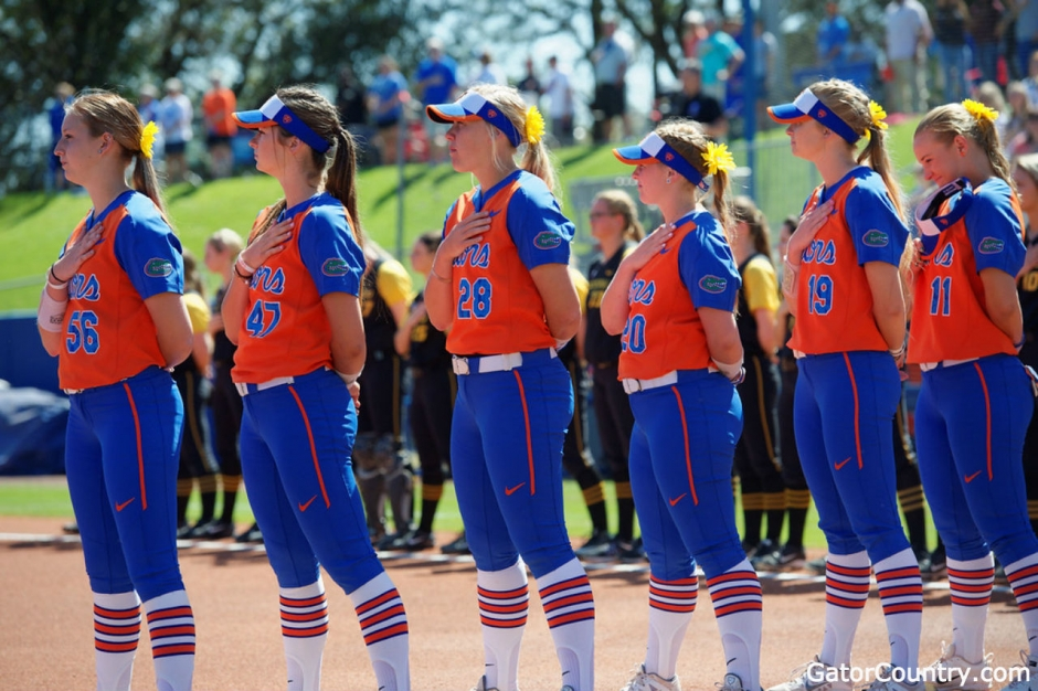 Florida Gators softball players before the Missouri game in 2017- 1280x853