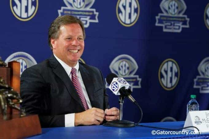 Jim McElwain talks to the media before the SEC Championship game against Alabama in 2016- Florida Gators football- 1280x853