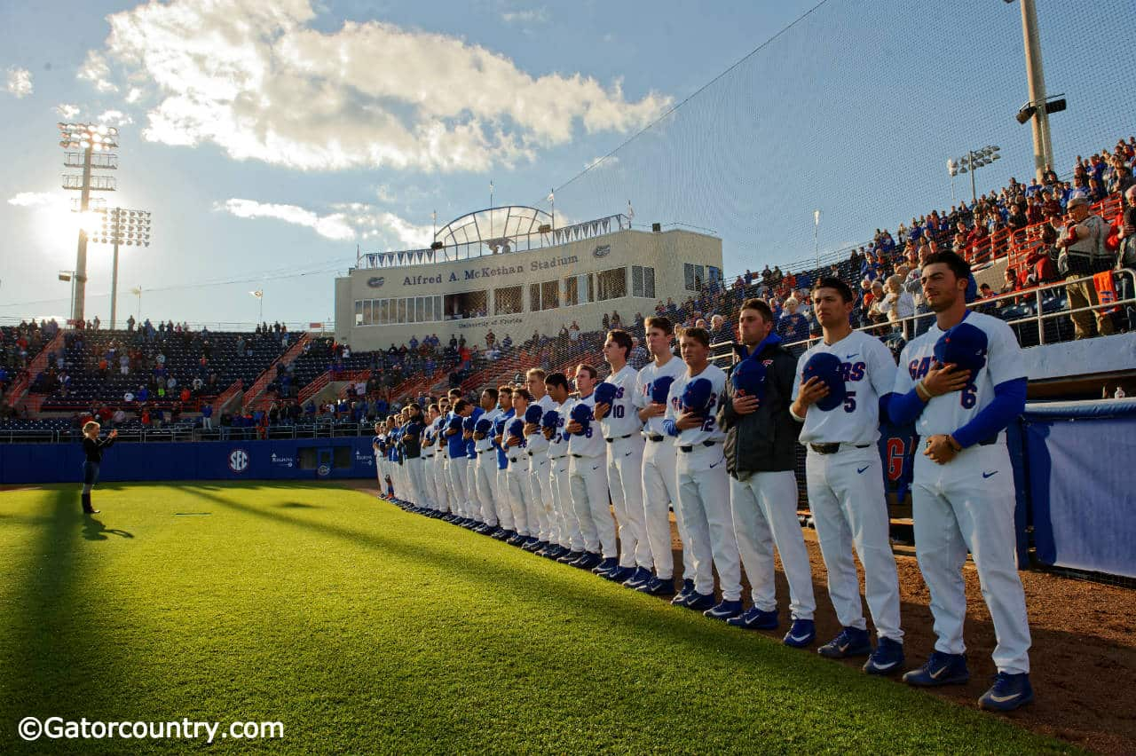 The University of Florida Gators baseball team stand for the National Anthem before playing Florida State- Florida Gators baseball- 1280x852