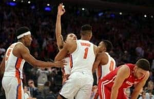 Mar 24, 2017; New York, NY, USA; Florida Gators guard Chris Chiozza (11) celebrates making the game winning shot against the Wisconsin Badgers in the semifinals of the East Regional of the 2017 NCAA Tournament at Madison Square Garden. Mandatory Credit: Brad Penner-USA TODAY Sports