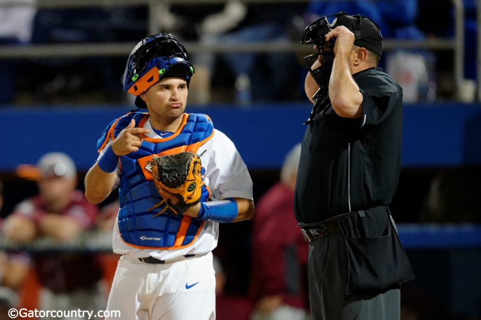 University of Florida catcher Mike Rivera looks to the dugout during the Florida Gators win over FSU- Florida Gators baseball- 1280x852