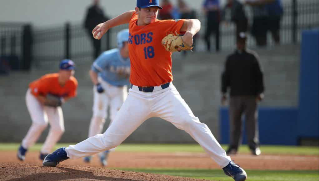 University of Florida freshman pitcher Tyler Dyson throws against Columbia University- Florida Gators baseball- 1280x845