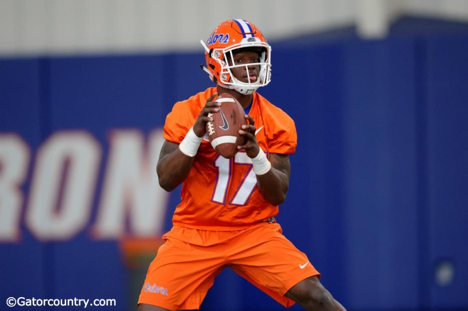 University of Florida freshman quarterback Kadarius Toney throws a pass during the Gators third spring practice- Florida Gators football- 1280x852