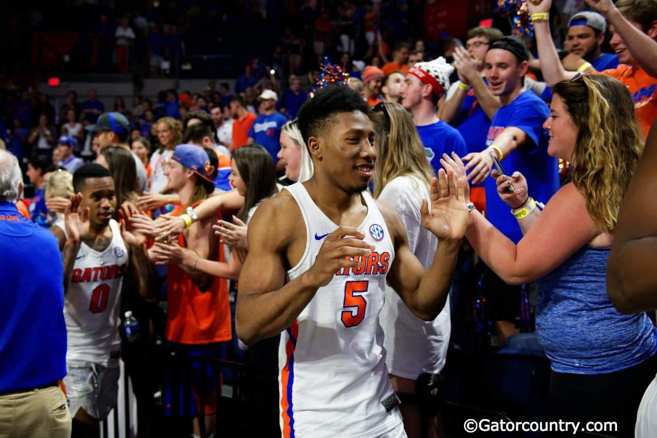 University of Florida guard KeVaughn Allen greets fans after the Gators win over the Arkansas Razorbacks- Florida Gators basketball- 1280x854