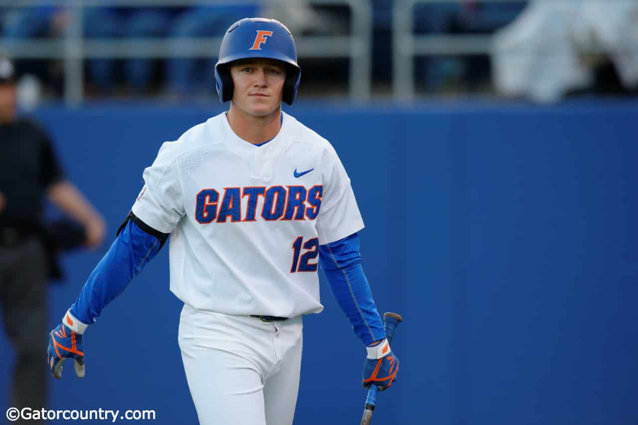 University of Florida outfielder Blake Reese walks back to the dugout after striking out against Florida State- Florida Gators baseball- 1280x852