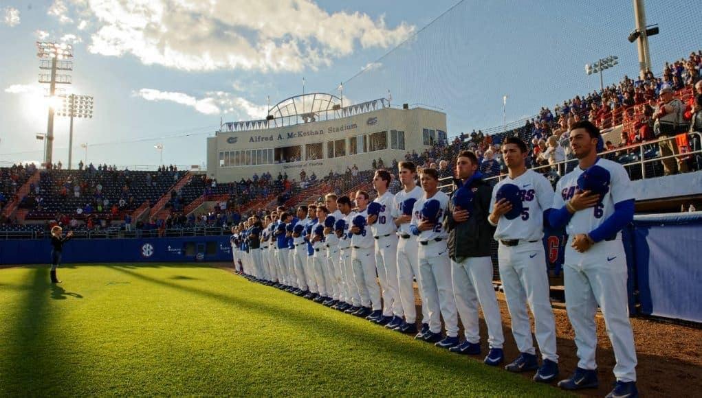 University of Florida players line up before a baseball game against the Florida State Seminoles at McKethan stadium- Florida Gators baseball- 1280x852