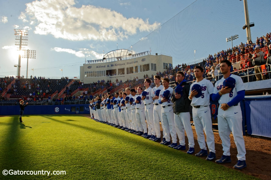 University of Florida players line up before a baseball game against the Florida State Seminoles at McKethan stadium- Florida Gators baseball- 1280x852