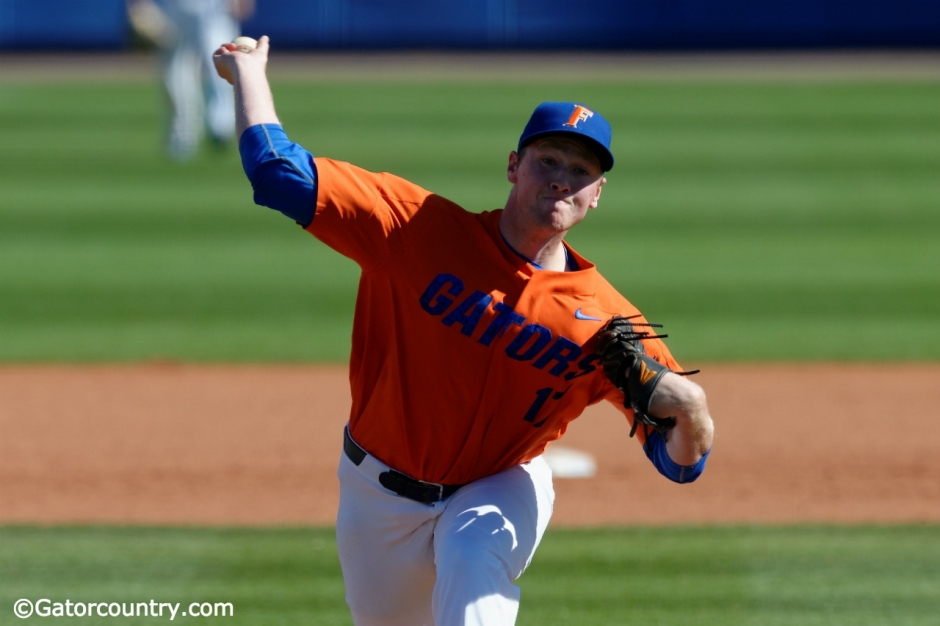 University of Florida sophomore pitcher Michael Byrne delivers a pitch against Miami- Florida Gators baseball- 1280x852