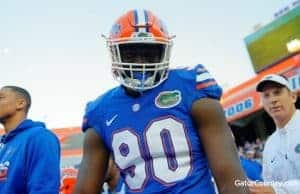 Florida Gators defensive end Antonneous Clayton at the spring game in 2017- 1280x852