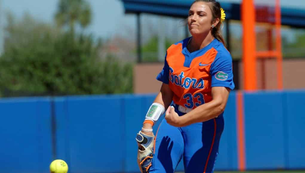 Florida Gators softball pitcher Delanie Gourley pitches in 2017- 1280x853