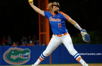 Florida Gators softball pitcher Kelly Barnhill pitches against FSU- 1280x1093