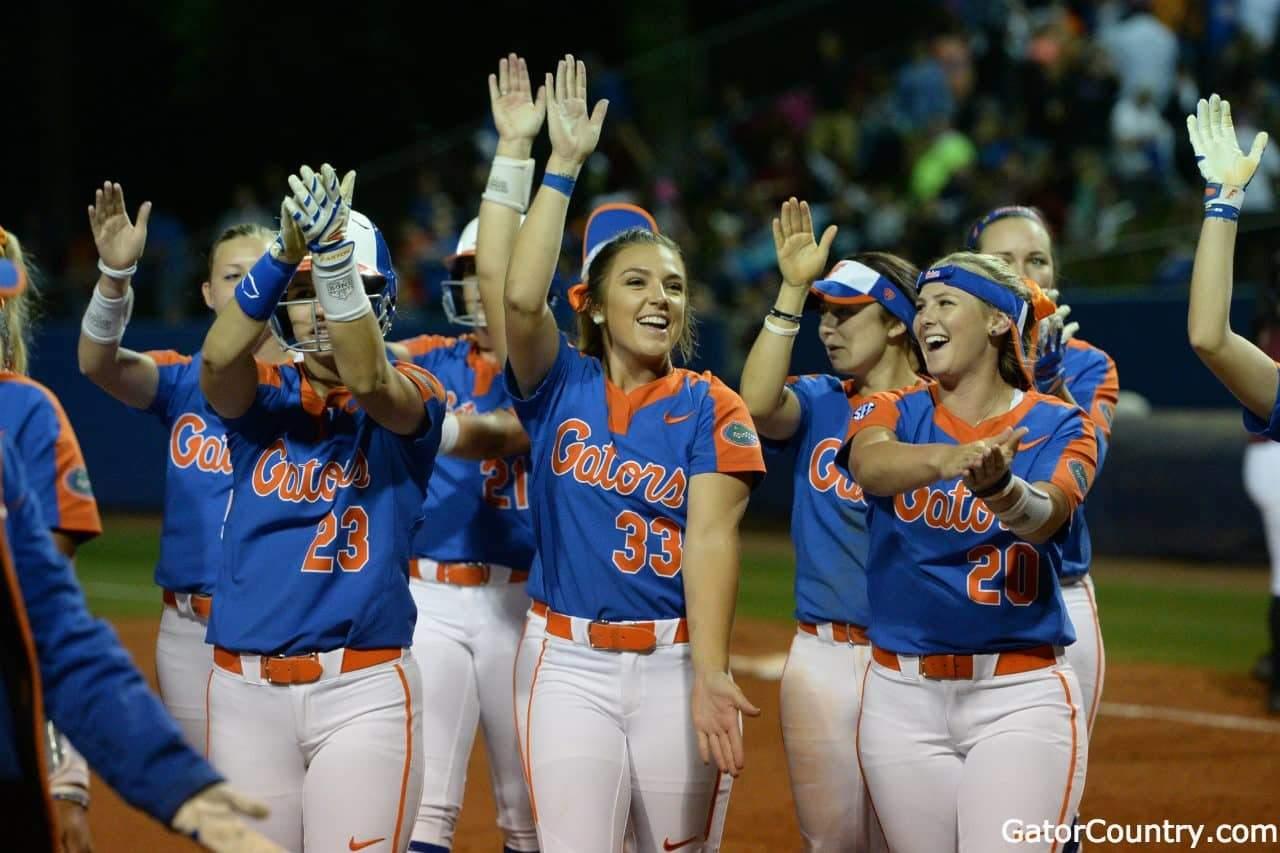Florida Gators softball team celebrates after defeating FSU- 1280x853