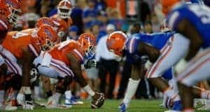 The Florida Gators firs team offense lines up against the second team defense during the 2017 Orange and Blue Debut- Florida Gators football- 1280x852