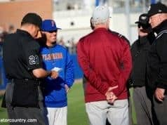 University of Florida manager Kevin O'Sullivan and FSU manager Mike Martin meet at the plate before the Gators and Noles game in Gainesville- Florida Gators baseball- 1280x854