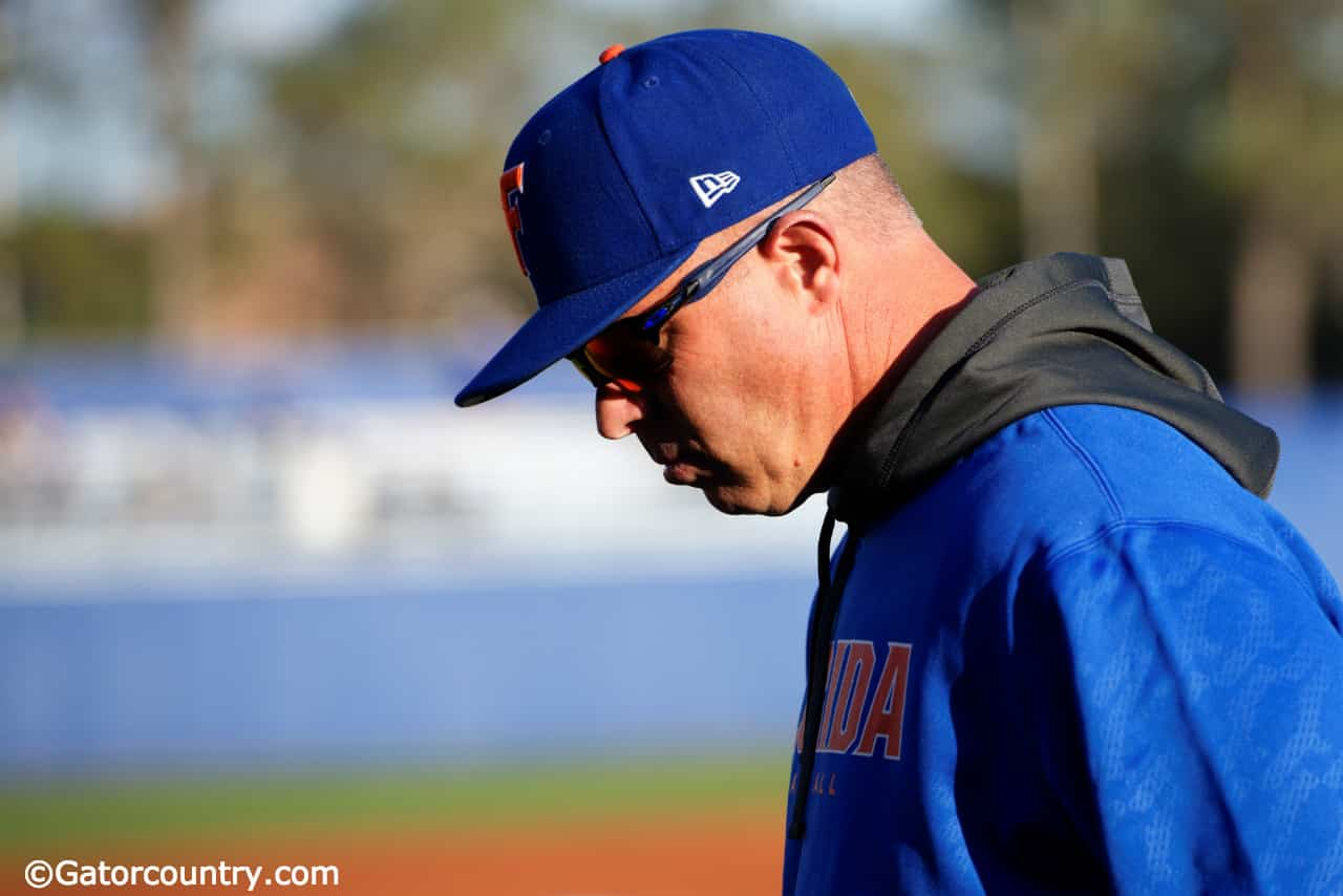 University of Florida manager Kevin O'Sullivan walks to the dugout before the Gators game against Florida State- Florida Gators baseball- 1280x854