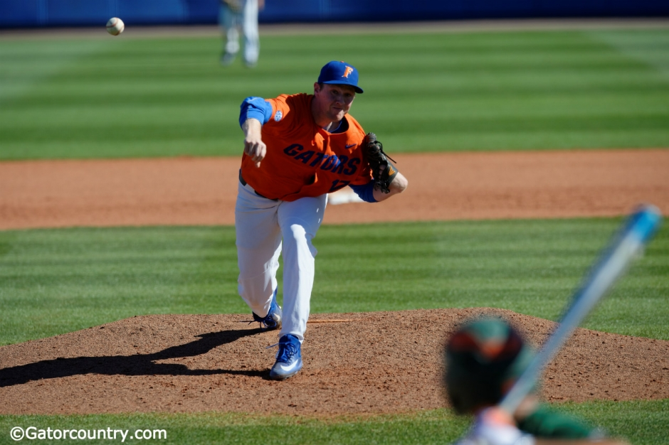 University of Florida pitcher Michael Byrne delivers to the plate in a win over the Miami Hurricanes- Florida Gators baseball- 1280x852