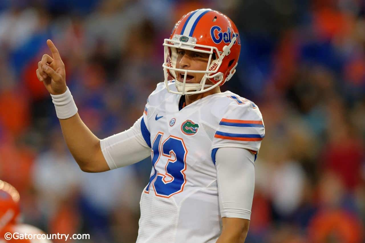 University of Florida quarterback Feleipe Franks makes a check at the line of scrimmage during the Orange and Blue Debut- Florida Gators football- 1280x852