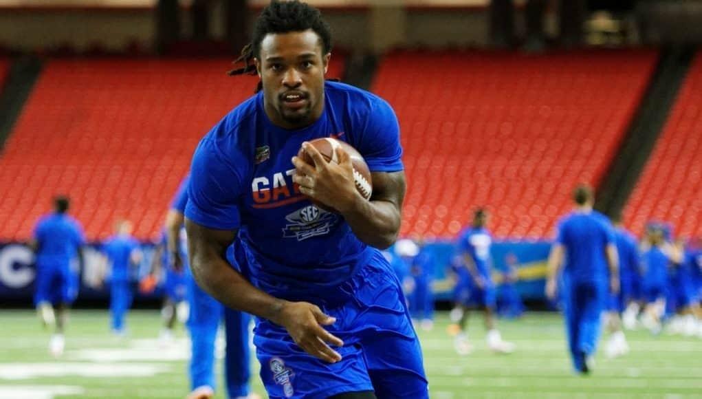 University of Florida running back Jordan Scarlett carries the ball during practice before the 2016 SEC Championship game- Florida Gators football- 1280x853