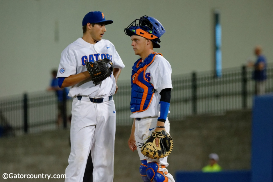University of Florida catcher JJ Schwarz talks with pitcher Alex Faedo on the mound in a loss to Kentucky- Florida Gators baseball- 1280x852