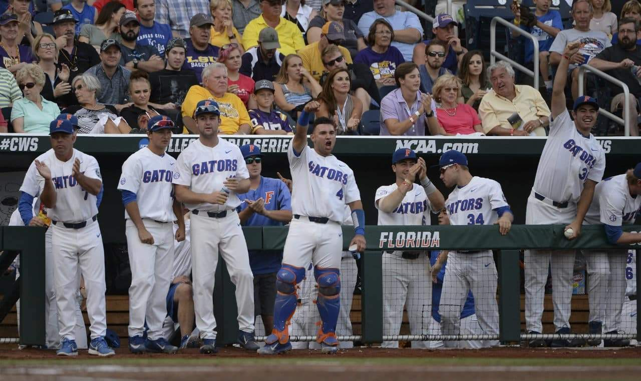 Florida Gators celebrate against LSU in the CWS finals- 1280x761