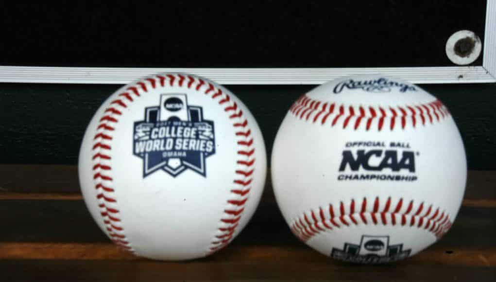 Official game balls for the 2017 College World Series sitting in the Florida Gators dugout- Florida Gators baseball- 1280x850