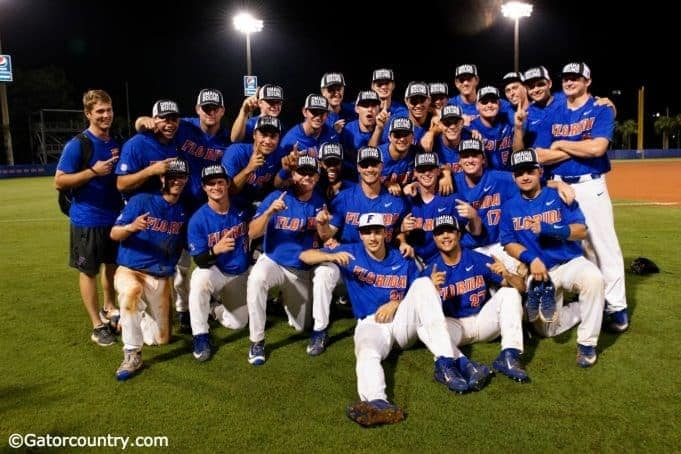 The University of Florida baseball team celebrates a 3-0 win over Wake Forest that punched their ticket to a third-consecutive College World Series- Florida Gators baseball 1280x854