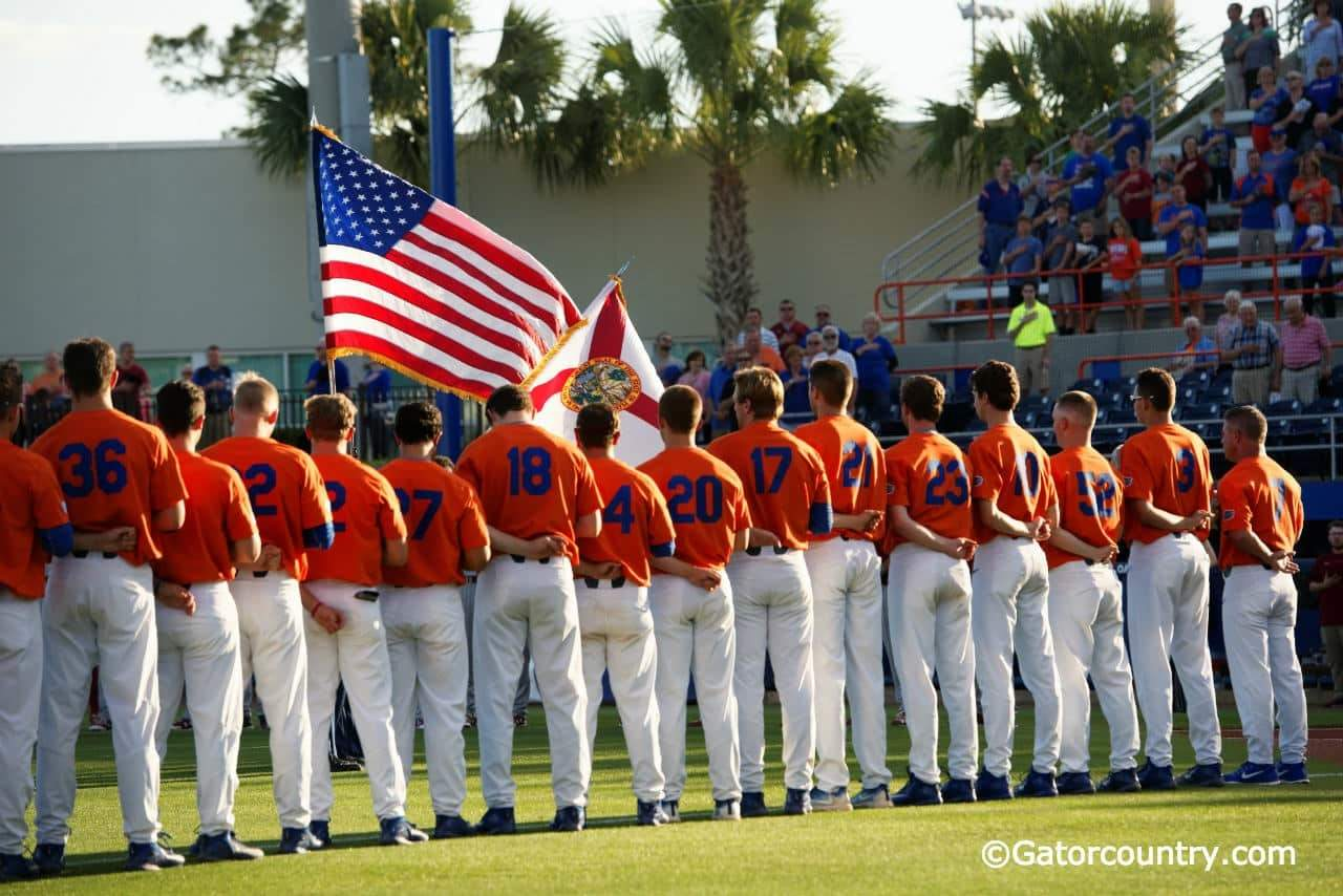 The University of Florida baseball team honors service men and women during its Salute the Troops game against South Carolina- Florida Gators baseball- 1280x852