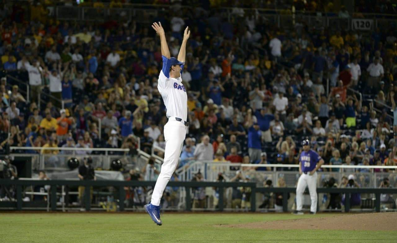 Jun 27, 2017; Omaha, NE, USA; Florida Gators pitcher Jackson Kowar (37) reacts after defeating the LSU Tigers in game two of the championship series of the 2017 College World Series at TD Ameritrade Park Omaha. Mandatory Credit: Steven Branscombe-USA TODAY Sports