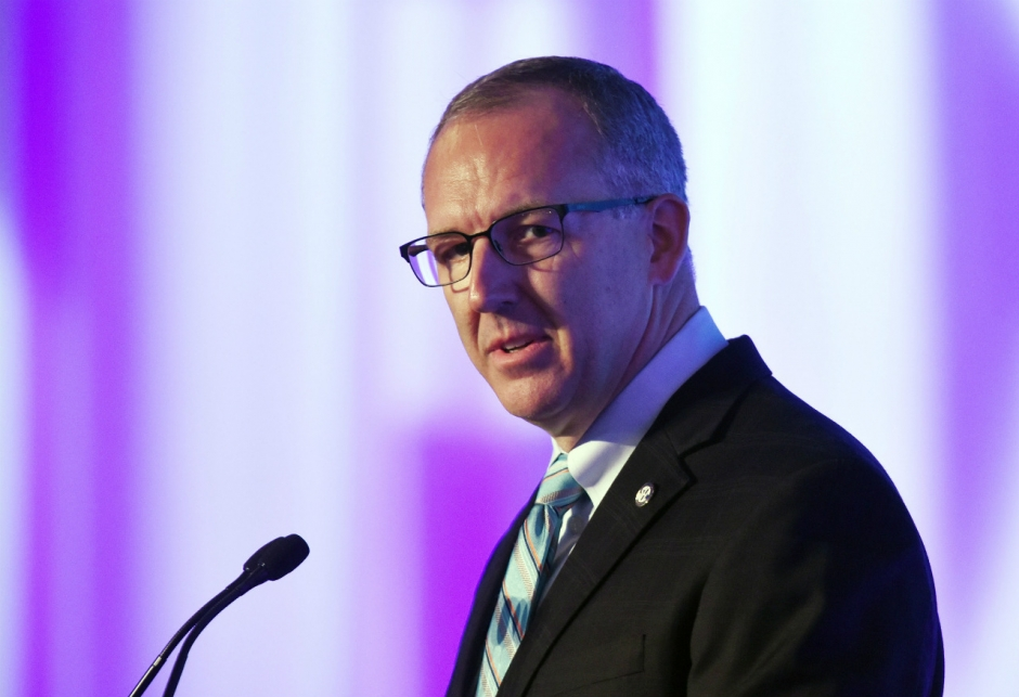 Jul 13, 2015; Hoover, AL, USA; SEC commissioner Greg Sankey talks to the media during SEC media days at the Wynfrey Hotel. Mandatory Credit: Kelly Lambert-USA TODAY Sports