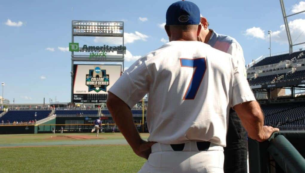 University of Florida head coach Kevin O'Sullivan does an interview on the field before the Florida Gators game against TCU- Florida Gators baseball- 1280x850