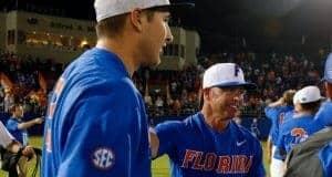 University of Florida manager Kevin O'Sullivan and junior pitcher Alex Faedo celebrate winning the Gainesville Super Regional over Wake Forest- Florida Gators baseball- 1280x852