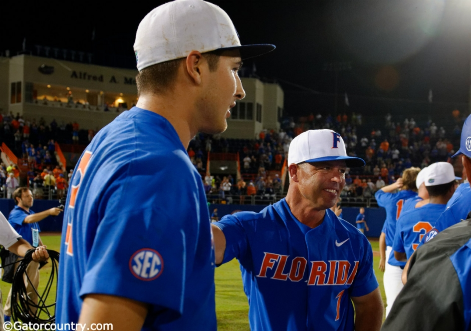 University of Florida manager Kevin O'Sullivan and junior pitcher Alex Faedo celebrate winning the Gainesville Super Regional over Wake Forest- Florida Gators baseball- 1280x852