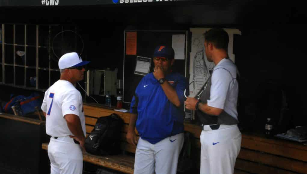 University of Florida manager Kevin O'Sullivan meets with volunteer assistant Lars Davis and assistant coach Craig Bell before the Florida Gators game against TCU- Florida Gators baseball- 1280x850