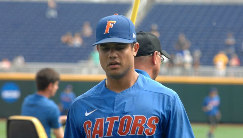 University of Florida outfielder Nelson Maldonado walks off the field after practice at TD Ameritrade Park for the College World Series- Florida Gators baseball- 1280x850