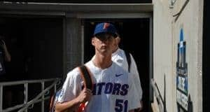 University of Florida pitcher Brady Singer walks into TD Ameritrade before the Florida Gators first game against TCU- Florida Gators baseball- 1280x850