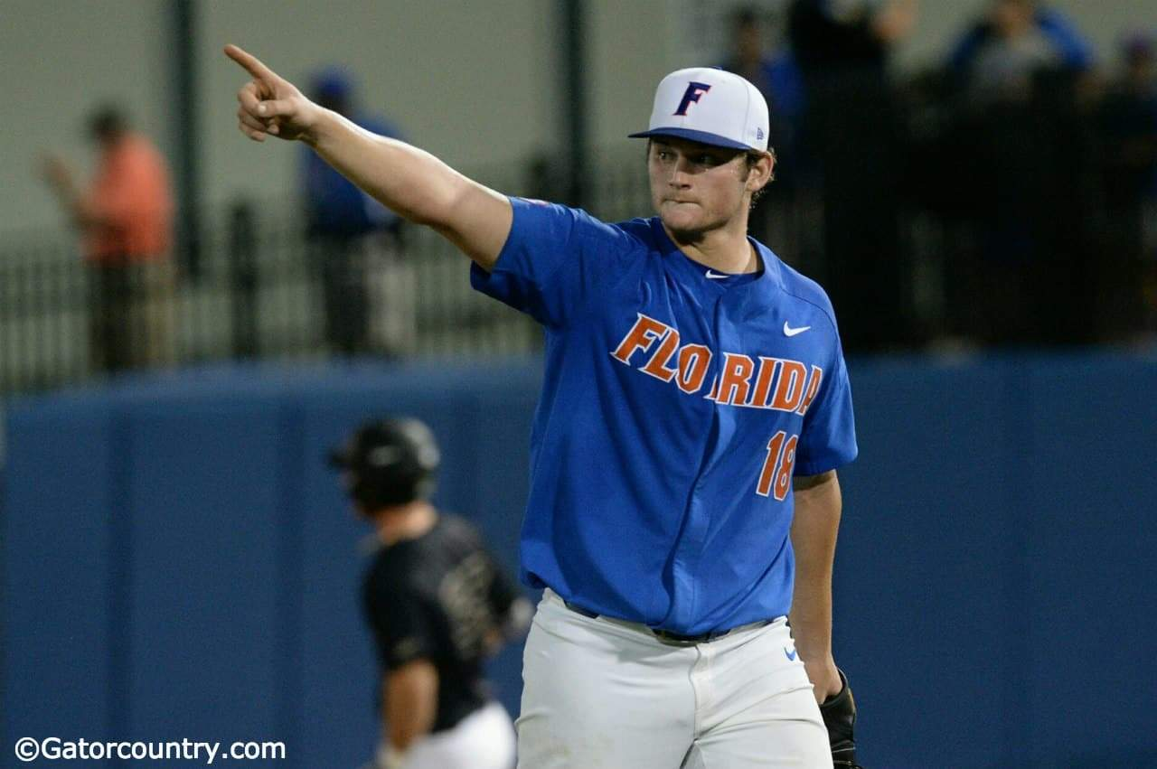University of Florida pitcher Tyler Dyson walks off the mound during a career performance in a 3-0 win over Wake Forest- Florida Gators baseball- 1280x851