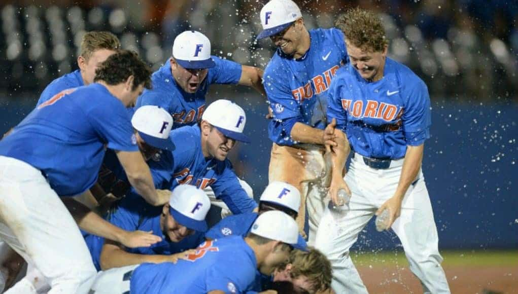 University of Florida players celebrate a 3-0 win over Wake Forest to earn a trip to Omaha for the College World Series- Florida Gators baseball- 1280x852